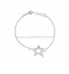 ROLO BRACELET 'WITH CENTRAL STAR IN SILVER RHODIUM TIT 925 AND WHITE ZIRCONIA CM 17-19