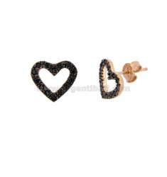 LOBO HEART EARRINGS IN SILVER ROSE TIT 925 AND BLACK ZIRCONIA