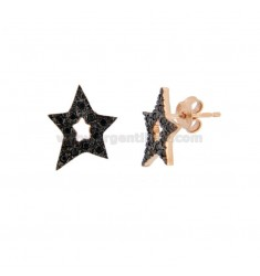 LOBO STAR EARRINGS IN SILVER ROSE TIT 925 AND BLACK ZIRCONIA