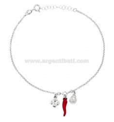 ROLO 'ANKLE' WITH QUADRIFOFLIO, LADYBIRD AND HORN ENAMELED SILVER RHODIUM TIT 925 ‰ CM 23 EXTENSIBLE TO 26