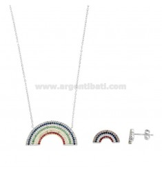 NECKLACE 45 CM AND EARRINGS A LOBO RAINBOW SILVER RHODIUM TIT 925 AND ZIRCONIA RAINBOW