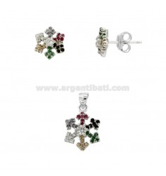 PENDANT AND EARRINGS IN LOBO SNOWFLAKE IN RHODIUM SILVER TIT 925 AND RAINBOW ZIRCONIA