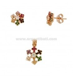 PENDANT AND EARRINGS IN LOBO SNOWFLAKE IN ROSE SILVER TIT 925 AND ZIRCONIA RAINBOW