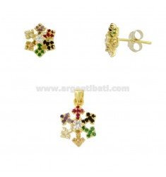 PENDANT AND EARRINGS IN LOBO SNOWFLAKE IN GOLDEN SILVER TIT 925 AND RAINBOW ZIRCONIA