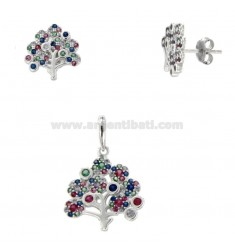 PENDANT AND EARRINGS IN LOBO TREE OF LIFE IN SILVER RHODIUM TIT 925 AND ZIRCONIA RAINBOW