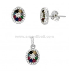 PENDANT AND LOBO OVAL EARRINGS IN SILVER RHODIUM TIT 925 AND RAINBOW ZIRCONIA