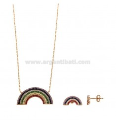 45 CM NECKLACE AND RAINBOW LOBO EARRINGS IN SILVER ROSE TIT 925 AND RAINBOW ZIRCONIA