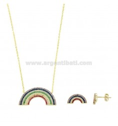 45 CM NECKLACE AND ARCOBALENO LOBO EARRINGS IN SILVER SILVER TIT 925 AND RAINBOW ZIRCONIA
