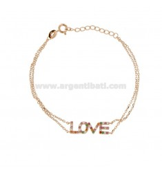 LOVE BRACELET IN SILVER ROSE TIT 925 AND RAINBOW ZIRCONIA CM 18