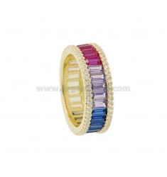VERETTA RING BAGUETTE IN GOLDEN SILVER TIT 925 AND WHITE ZIRCONIA AND RAINBOW SIZE 14