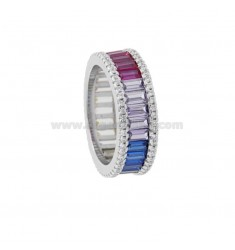 VERETTA RING BAGUETTE IN SILVER RHODIUM TIT 925 AND WHITE ZIRCONIA AND RAINBOW SIZE 16