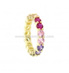 MINERAL RING 4 MM SILVER SILVER TIT 925 AND RAINBOW ZIRCONIA MEASURE 18