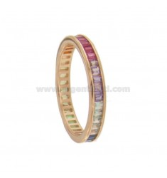 VERETTA BAGUETTE RING IN SILVER ROSE TIT 925 AND RAINBOW ZIRCONIA MEASURE 14