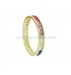 VERETTA RING BAGUETTE IN GOLDEN SILVER TIT 925 AND RAINBOW ZIRCONIA MEASURE 14
