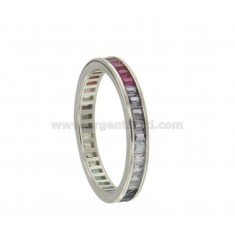 VERETTA RING BAGUETTE SILVER RHODIUM TIT 925 AND RAINBOW ZIRCONIA SIZE 16