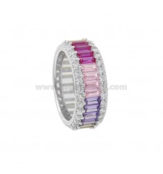 VERETTA RING BAGUETTE IN SILVER RHODIUM TIT 925 AND WHITE ZIRCONIA AND RAINBOW SIZE 14