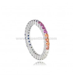 RING 1.5 MM IN SILVER RHODIUM TIT 925 AND RAINBOW ZIRCONIA SIZE 14
