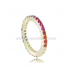 RING 1.5 MM IN SILVER SILVER TIT 925 AND ZIRCONIA RAINBOW MEASURE 14