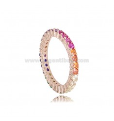 1.5 MM VERETTA ROSATO SILVER TIT 925 AND RAINBOW ZIRCONIA SIZE 18