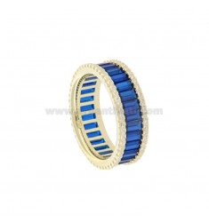 VERETTA RING BAGUETTE IN GOLDEN SILVER TIT 925 AND WHITE ZIRCONIA AND BLUE SIZE 18