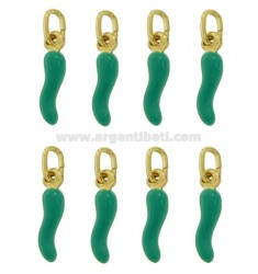 HORN CHARM CM 1.8 PCS 8 SILVER GOLD PLATED AND GLAZED GREEN TIFFANY TIT 925 ‰