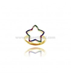 STAR GOLDEN SILVER RING TIT 925 AND RAINBOW ZIRCONIA ADJUSTABLE SIZE