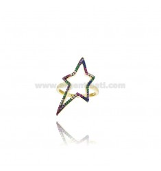 STAR GOLDEN SILVER RING TIT 925 UND RAINBOW ZIRCONIA MASS 16