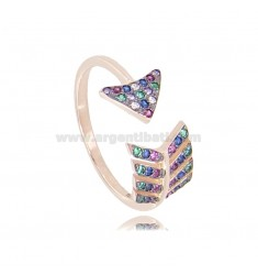 ARROW RING IN SILVER ROSE TIT 925 AND RAINBOW ZIRCONIA MEASURE 16