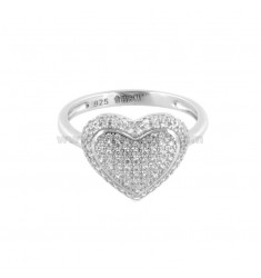 RING HEART IN SILVER RHODIUM TIT 925 AND WHITE ZIRCONIA SIZE 16
