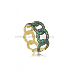 GROUMETTE RING IN SILVER SILVER TIT 925 AND GREEN ZIRCONIA SIZE 14