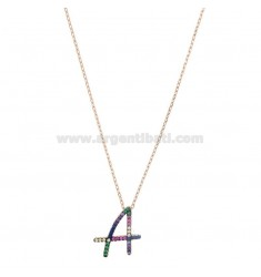 NECKLACE CABLE WITH LETTER A IN SILVER ROSE TIT 925 AND ZIRCONIA RAINBOW CM 45