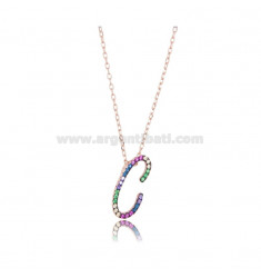 NECKLACE CABLE WITH LETTER C IN SILVER ROSE TIT 925 AND ZIRCONIA RAINBOW CM 45