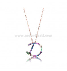 NECKLACE CABLE WITH LETTER D IN SILVER ROSE TIT 925 AND ZIRCONIA RAINBOW CM 45