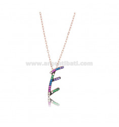 CABLE NECKLACE WITH LETTER AND ROSE SILVER TIT 925 AND ZIRCONS RAINBOW CM 45