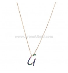 NECKLACE CABLE WITH LETTER G IN SILVER ROSE TIT 925 AND ZIRCONIA RAINBOW CM 45
