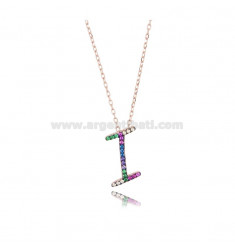 NECKLACE CABLE WITH LETTER I IN SILVER ROSE TIT 925 AND ZIRCONIA RAINBOW CM 45