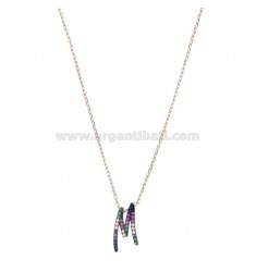 NECKLACE CABLE WITH LETTER M IN SILVER ROSE TIT 925 AND ZIRCONIA RAINBOW CM 45