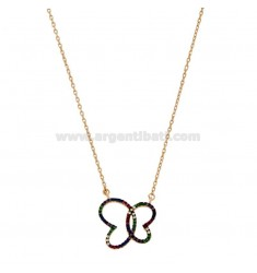 NECKLACE CABLE WITH BUTTERFLY CONTOUR SILVER ROSE TIT 925 AND RAINBOW ZIRCONIA CM 45