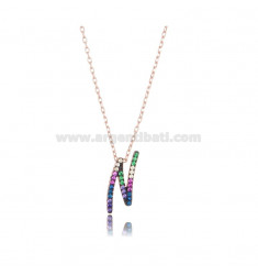 NECKLACE CABLE WITH LETTER N IN SILVER ROSE TIT 925 AND ZIRCONIA RAINBOW CM 45
