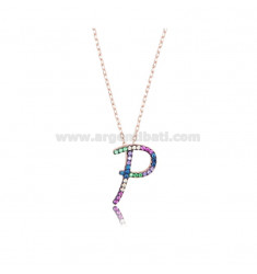 NECKLACE CABLE WITH LETTER P IN SILVER ROSE TIT 925 AND ZIRCONIA RAINBOW CM 45