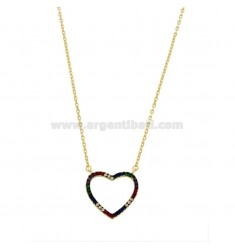 NECKLACE CABLE WITH CONTOUR HEART IN SILVER SILVER TIT 925 AND ZIRCONIA RAINBOW CM 45