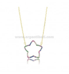 NECKLACE CABLE WITH CONTOURS STAR SILVER SILVER TIT 925 AND ZIRCONIA RAINBOW CM 45