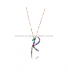 NECKLACE CABLE WITH LETTER R IN SILVER ROSE TIT 925 AND ZIRCONIA RAINBOW CM 45