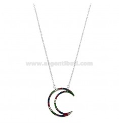 NECKLACE CABLE WITH MOON CONTOUR IN SILVER RHODIUM TIT 925 AND ZIRCONIA RAINBOW CM 45