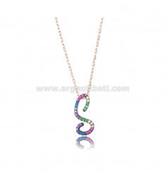 NECKLACE CABLE WITH LETTER S IN SILVER ROSE TIT 925 AND ZIRCONIA RAINBOW CM 45