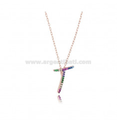 NECKLACE CABLE WITH LETTER T IN SILVER ROSE TIT 925 AND ZIRCONIA RAINBOW CM 45