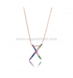 CABLE NECKLACE WITH LETTER X IN ROSE SILVER TIT 925 AND ZIRCONS RAINBOW CM 45