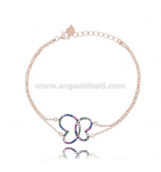 BRACELET CABLE WITH BUTTERFLY SQUARE SILVER ROSE TIT 925 AND RAINBOW ZIRCONIA CM 18
