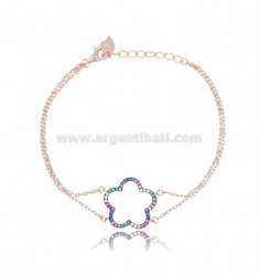 BRACELET CABLE WITH FLOWER CONTAINER IN SILVER ROSE TIT 925 AND RAINBOW ZIRCONIA CM 18
