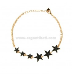 BRACELET FORZATINA WITH 6 STARS IN SILVER ROSE TIT 925 AND ZIRCONIA BLACKS 18 CM